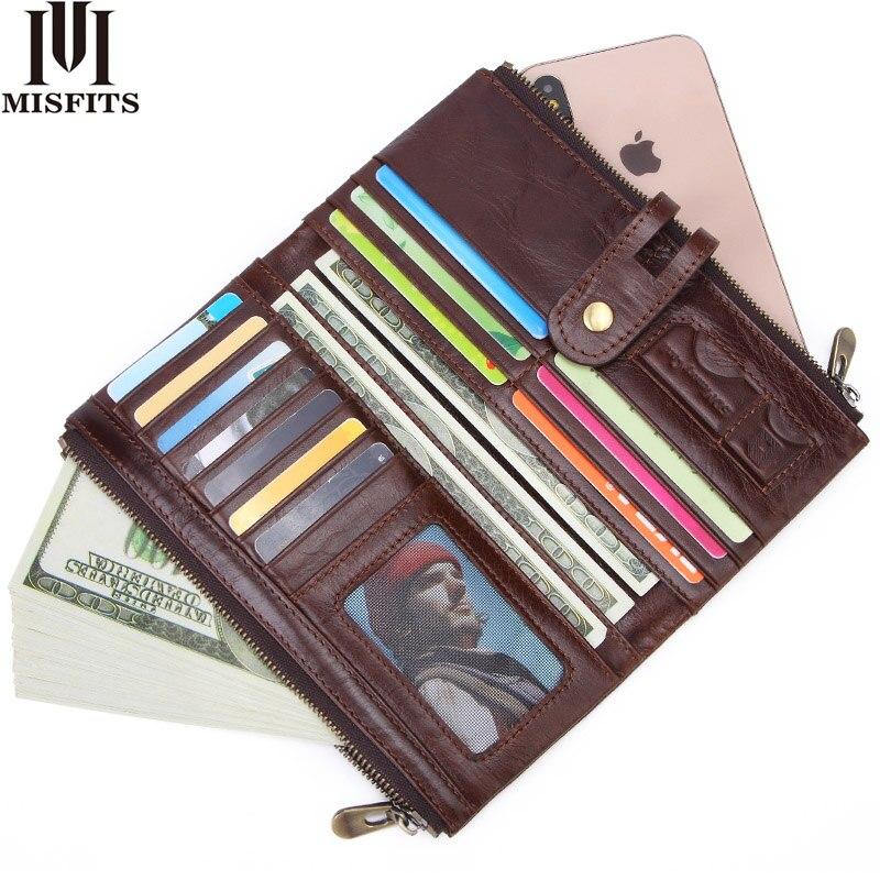 MISFITS new vintage men long wallet genuine leather male purse clutch wallet for phone high quality card holder zipper money bag недорого