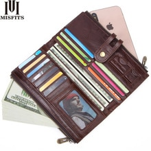 MISFITS new vintage men long wallet genuine leather male purse clutch wallet for phone high quality