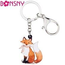 Bonsny acrylique Anime Cartoon élégant renard porte-clés porte-clés pour femmes fille sac sac à main voiture dames pendentif portefeuille charmes cadeau