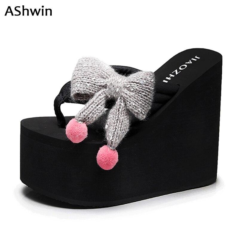 AShwin, Sandalias de tacón alto de verano para mujer, chanclas, plataforma de cuña, sandalia con lazo, zapatos, tacones, bohemia hawaiana