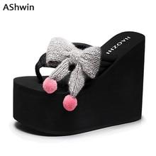 Ashwin 여름 여성 하이힐 슬라이드 샌들 플립 플롭 웨지 플랫폼 sweetie bowknot 샌들 신발 heels bohemia hawaiian