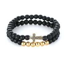 2pcs/set Natural stone Black 6mm beads Bracelets For Women Micro Pave CZ Cross Charms Bracelet Men jewelry