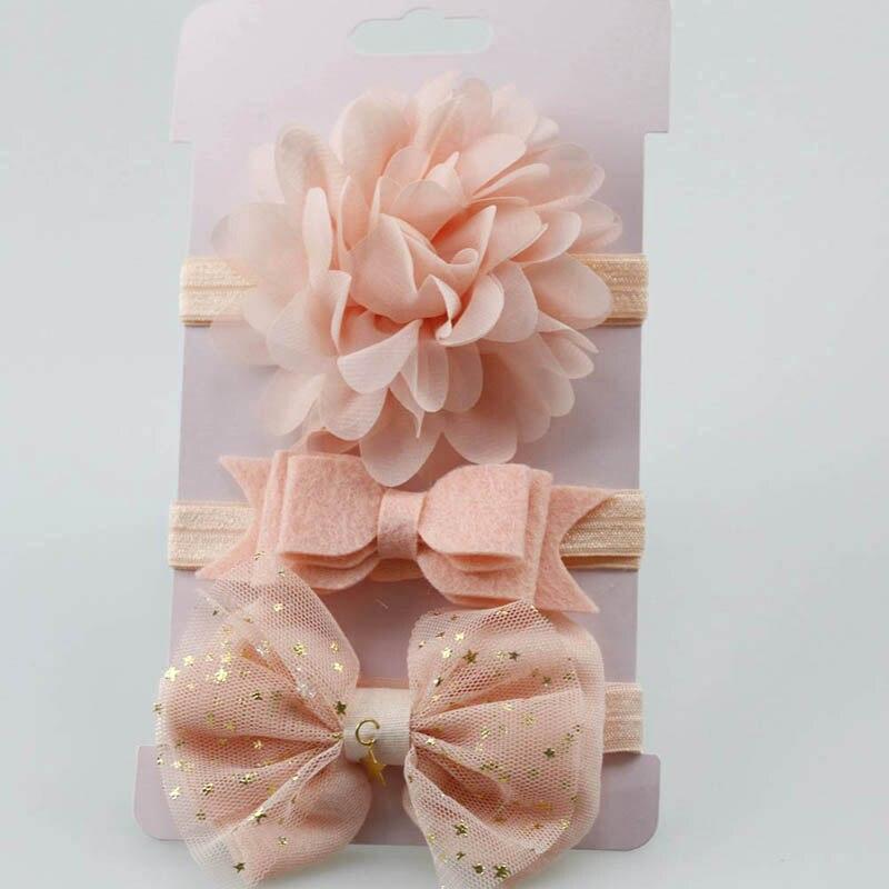 3 uds bebé niña flor diadema elástica de goma de los niños del bebé del pelo gorras de goma Skinny elástico Bowknot diadema de flores