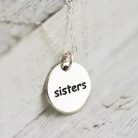 """Collar de letra """"sister"""" de Plata de Ley 925, superventas, collares, joyería, el mejor regalo de Navidad para mujeres YP3973"""