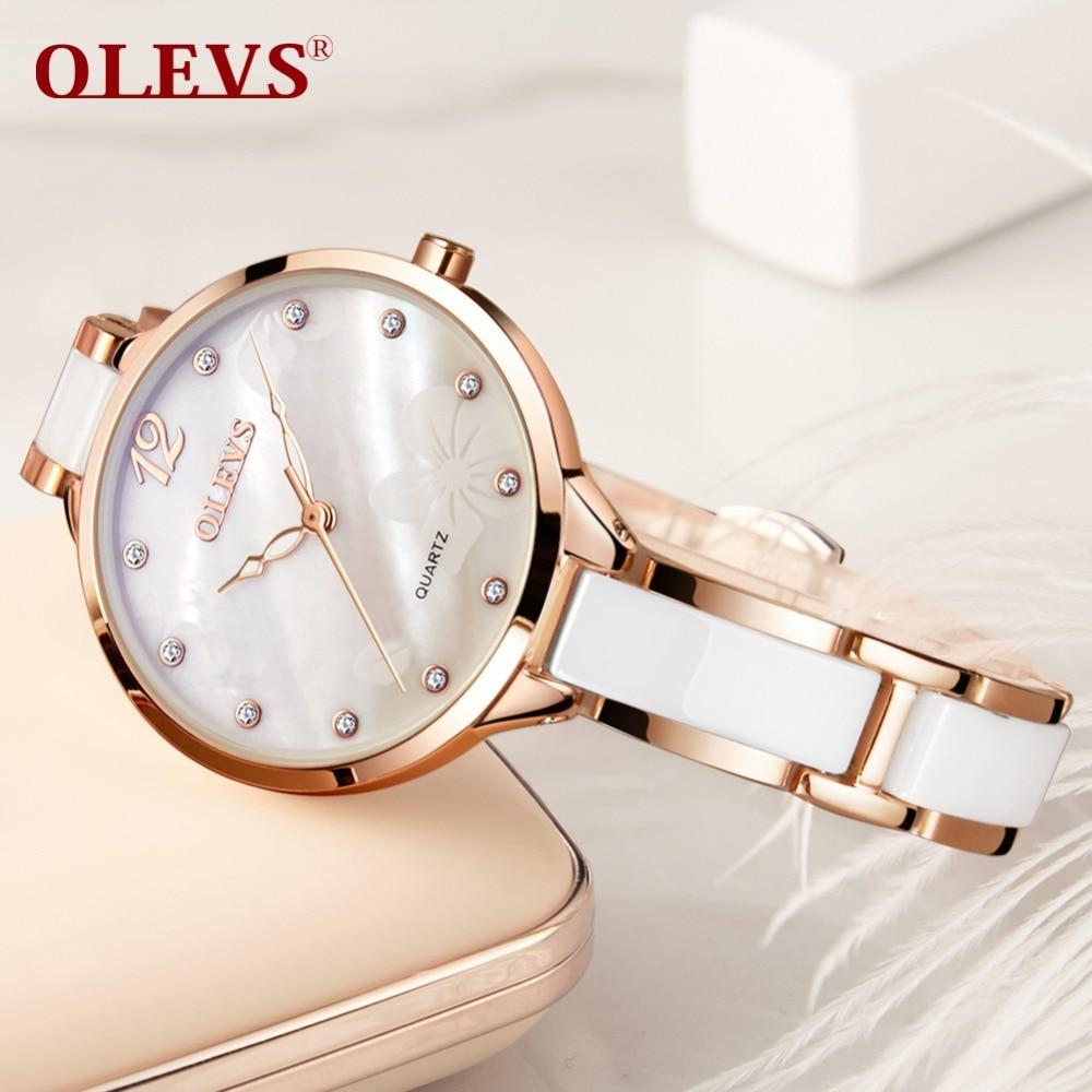 OLEVS, relojes de cerámica para mujer, reloj de cuarzo con movimiento japonés, reloj de pulsera de marca para mujer, reloj de pulsera de lujo para mujer para niña 2018