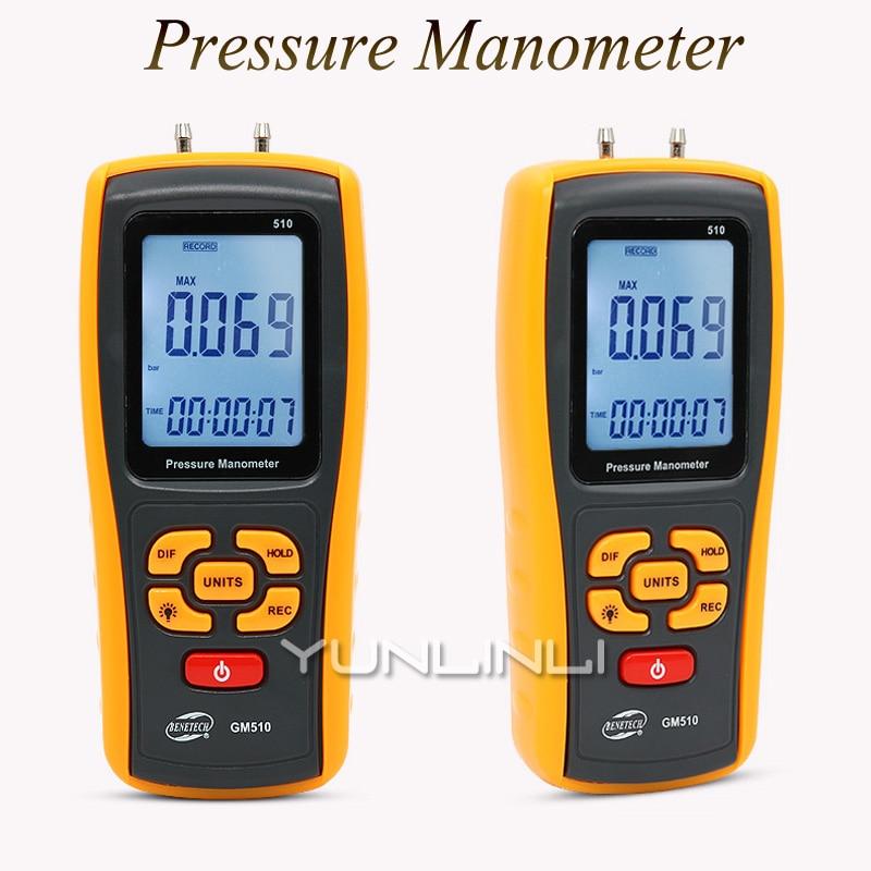 Medidor Digital de presión diferencial soplador Digital Sistema de aire acondicionado filtro resistencia GM510