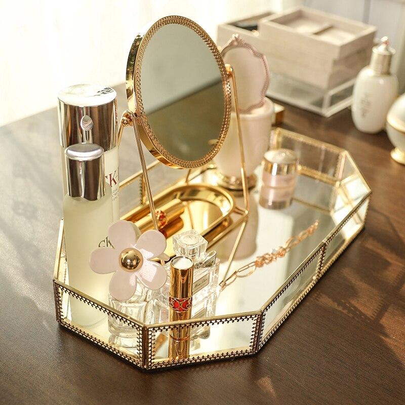 Make-up Organizer Lagerung Box Europa Und Amerika Einfache Und Moderne Modell Zimmer Softcover Metall Glas Spiegel Eitelkeit Tablett Dekoration