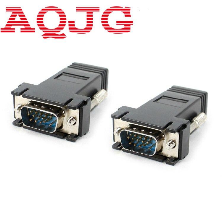 VGA extensor adaptador de macho a LAN CAT5 CAT6 RJ45 red Ethernet Cable adaptador hembra ordenador Extra Switch Converter Kit negro AQJG