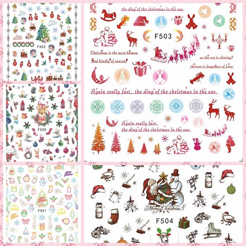 1 hoja caliente elementos de Navidad medias de muñeco de nieve Xmas árbol regalos auto-arte adhesivo para uña pegatinas decoraciones F50X