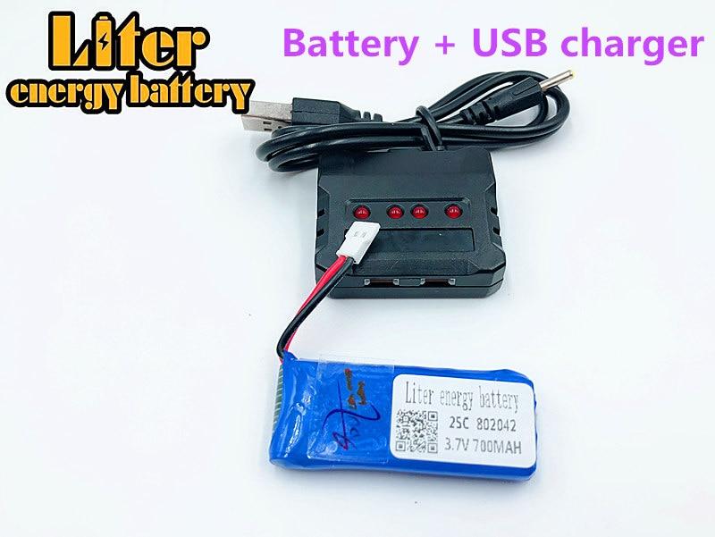 3,7 V 700mAh 802042 Lipo batería con cargador USB JJRC H37 H31 Eachine E50 componentes para drones RC quadcopter