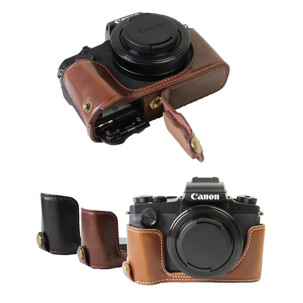 Capa de Couro Abertura de Abertura pu para Câmera Canon Powershot Mark G1xiii G1x3 Capa Protetora Inferior G1x Iii