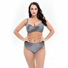 Retro Plus Größe Wrap Brust Bikinis Set 2019 Neue Frauen Padded Push Up Bademode Grau Strappy Badeanzug Maillot De Bain femme 5XL