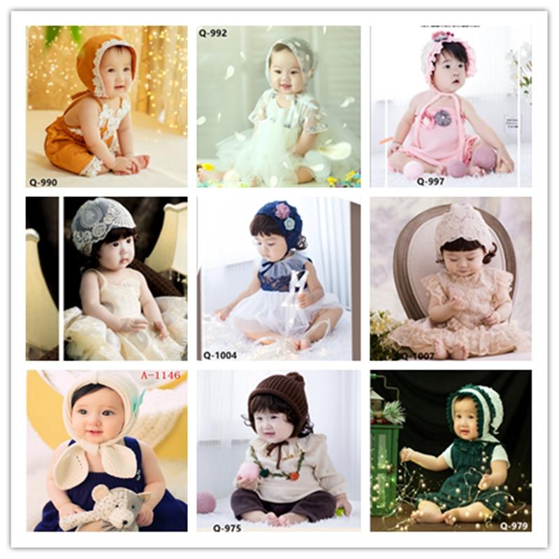 Dvotinst bebê recém-nascido meninas fotografia adereços roupas flora vestidos + chapéu conjunto para 6-12 m fotografia bonnet estúdio atira foto prop