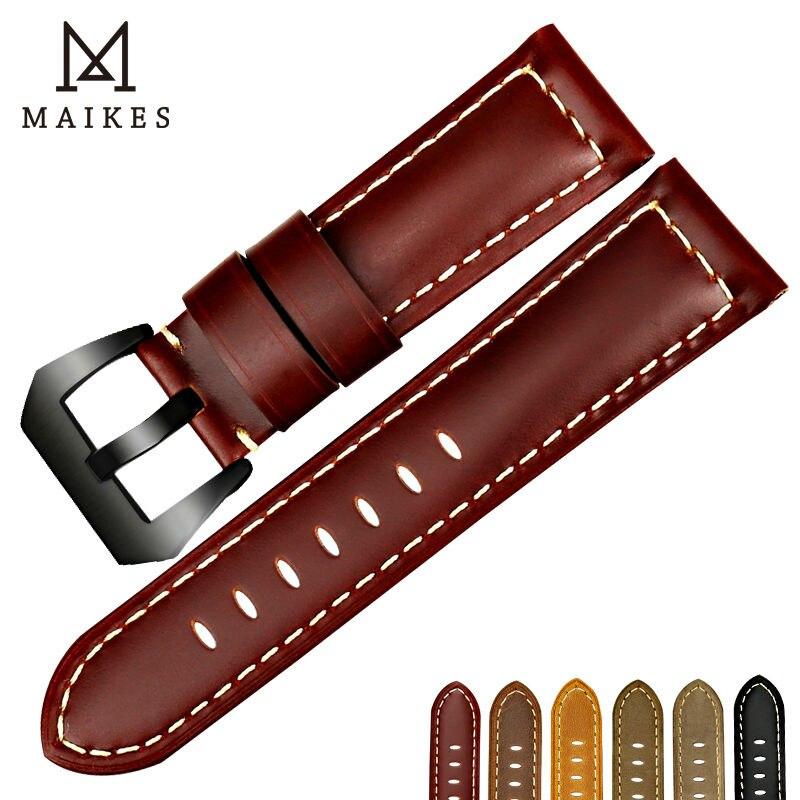 Maikes novo samsung engrenagem s3 pulseira de relógio pulseira couro genuíno faixa de relógio 22mm 24mm 26mm 3 pulseiras