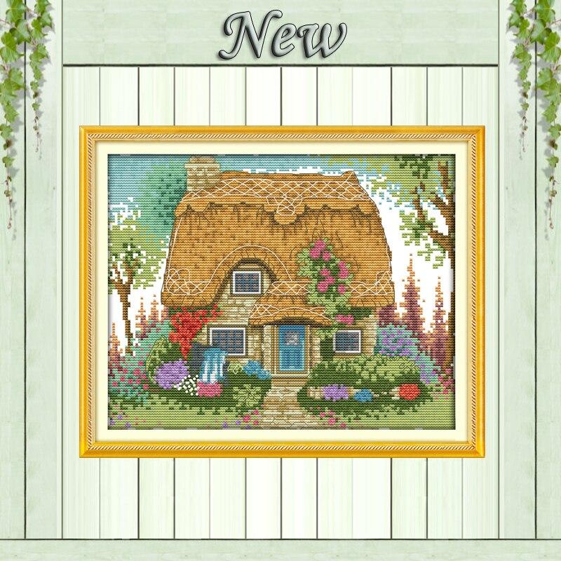 Una cabaña de paja paisaje de Casa de jardín, juegos de bordado de kits de costura de punto de cruz DIY DMC 14CT 11CT