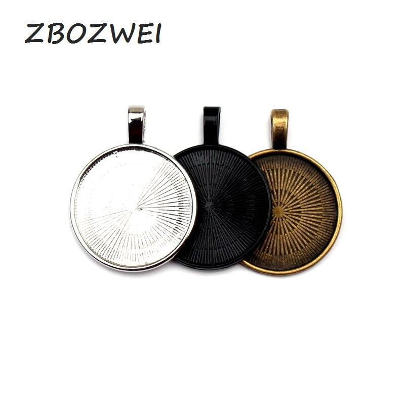 10 pcs 25mm Preto Prata bronze Banhado Colar de Pingente de Ajuste Cabochon Base de Cameo Bandeja Moldura de Cobre de Jóias Em Branco