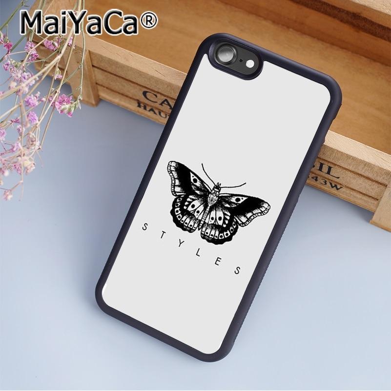 Maiyaca harry estilos um sentido borboleta tatuagem caso telefone para iphone 5 6 s 7 8 plus 11 pro xr xs max samsung s6 s7 borda s8