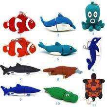Sevimli hayvan kalem sürücü Yunus/balık/köpekbalığı/kaplumbağa usb flash sürücü pendrive 4GB 8GB 16GB 32GB GB 64GB karikatür hafıza sopa ahtapot
