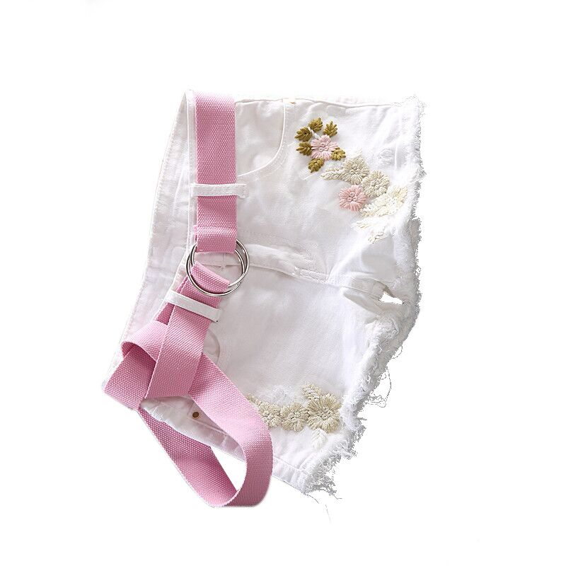 Pantalones cortos de mezclilla mujer verano 2019 primavera blanco nuevo adelgazamiento elástico con blet bordado corto