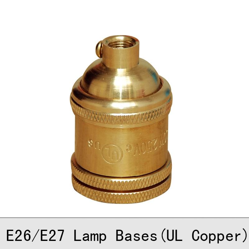 Vintage Edison Bulb Lamp Holder Copper Brass Screw Lamp Socket E26 E27 250V UL Top Quality Pendant light Lamp Bases 2PCS/Lot
