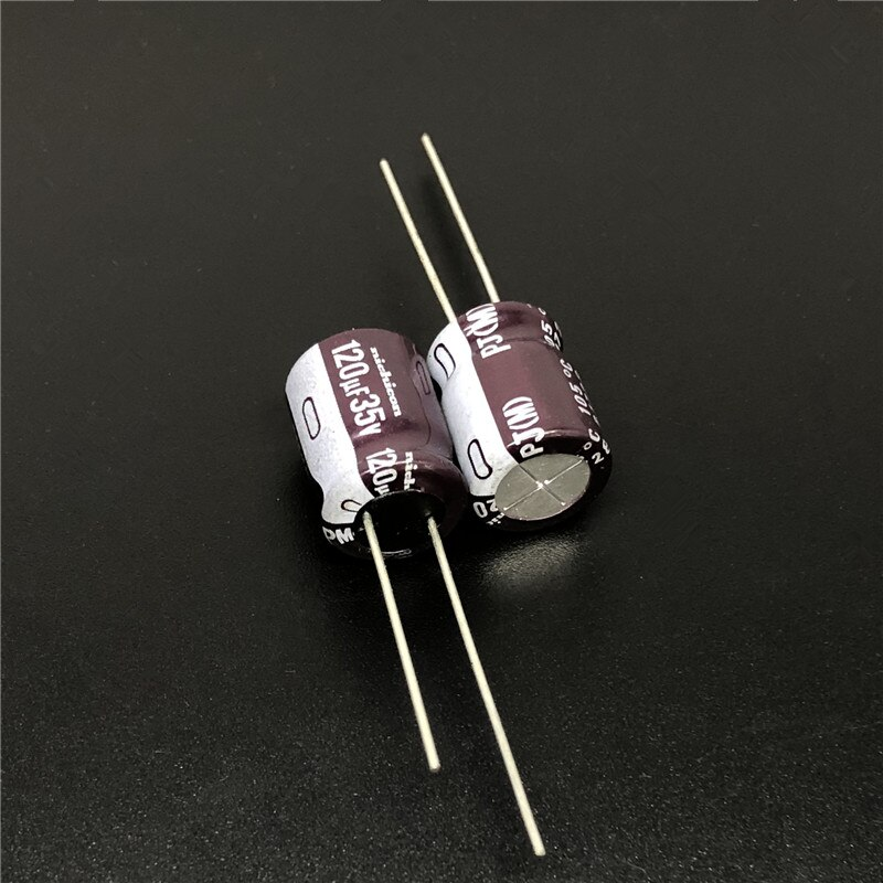 30 Pcs 120 Uf 35V Nichicon Pj Serie 10X12.5 Mm 35V120uF Lage Impedantie Lange Levensduur Aluminium Elektrolytische condensator