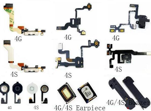 Botón de inicio Sensor de Cable flexible cinta altavoz para iPhone 4 4S botón de encendido y volumen interruptor de botón Flex Cable