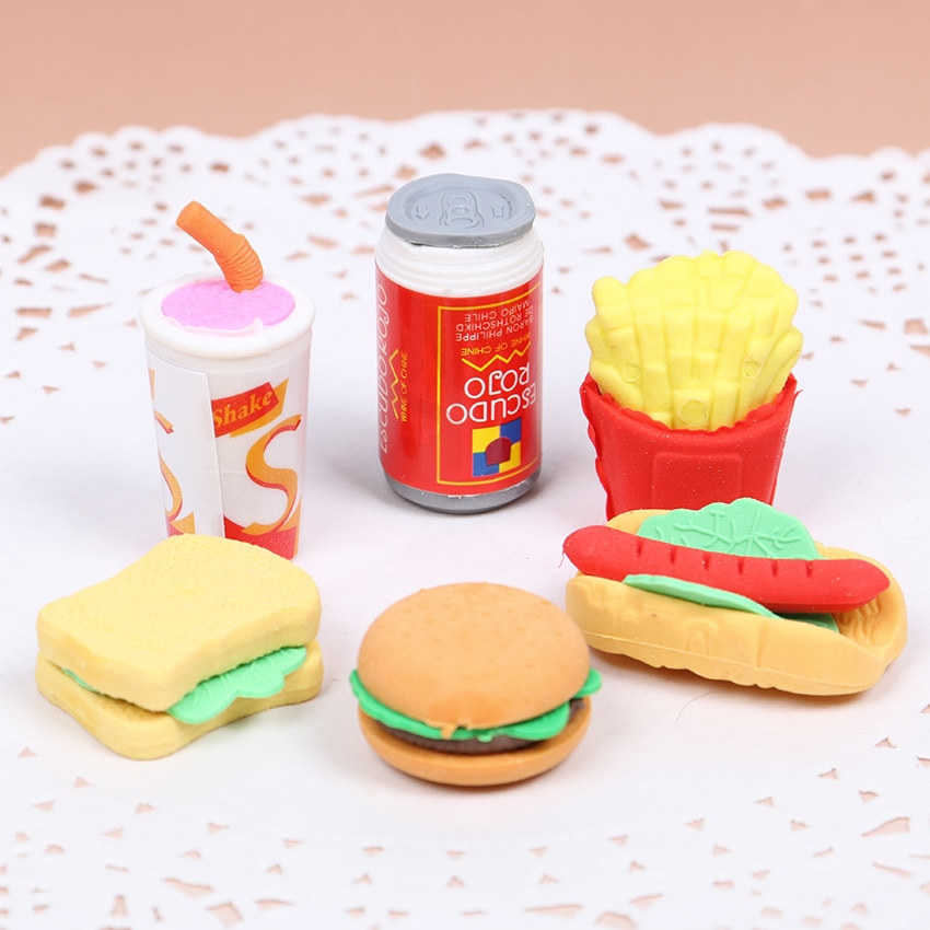 6 Teile/satz Nette Kawaii Hamburger Essen Trinken Cola Gummi Radiergummi Set Schule Büro Löschen Liefert Kinder Geschenke