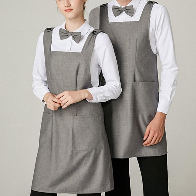 Serge tecido longo avental cinza barista baker restaurante hotel garçom catering uniforme bistro bartender diner workwear d25