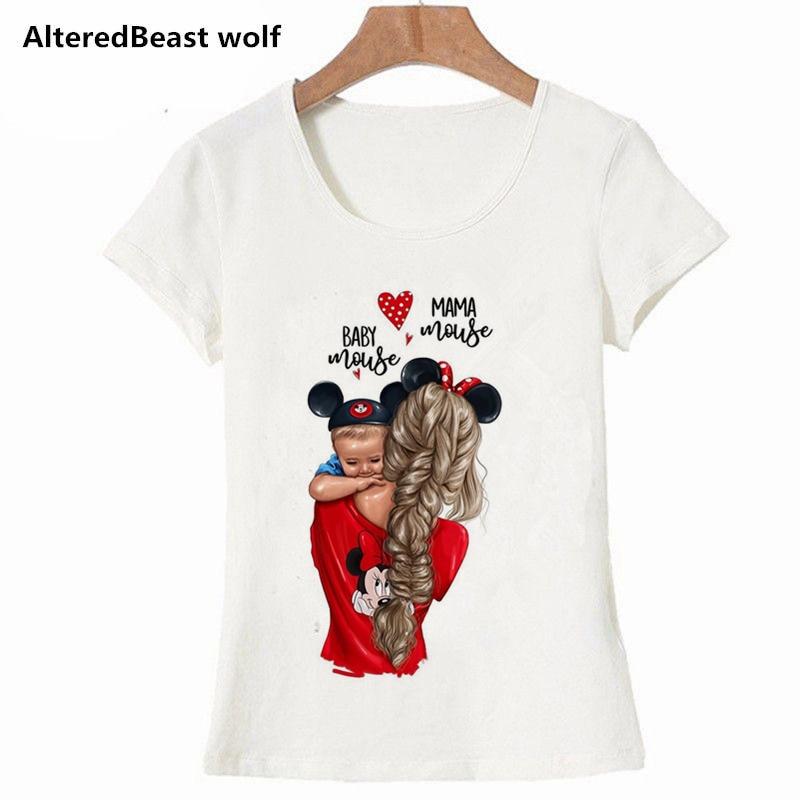 Super Mama Baby Mickey camisetas de mujer mamá e hijo imprimir camiseta mujer Vogue camiseta Streetwear Harajuku girl Tops