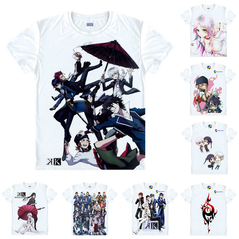 Coolprint Anime camisa K camisetas de proyecto Multi-estilo Manga corta el rey rojo Mikoto Suoh Cosplay Motivs Hentai camisas