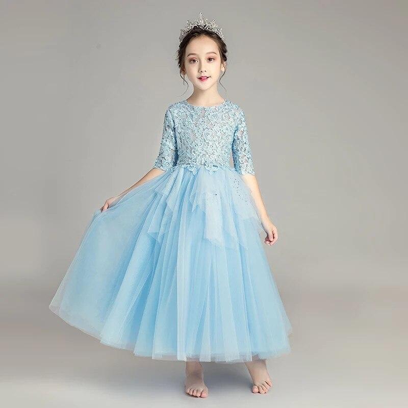 2018 Otoño Invierno nuevos niños niñas elegante Color azul cumpleaños boda fiesta de noche princesa encaje vestido largo Niño