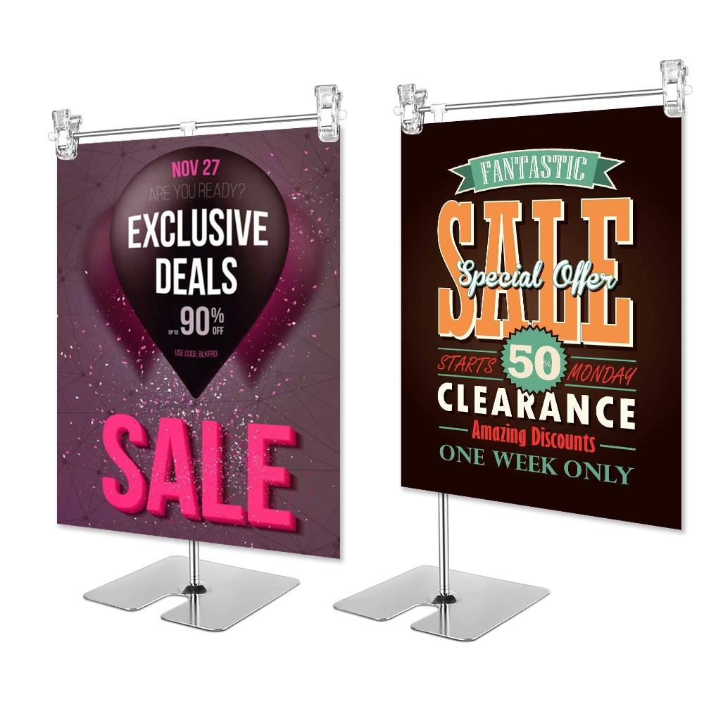 Регулируемый по высоте дисплей из нержавеющей стали зажим для плаката рекламная вывеска держатель продажи рекламные стойки картонные стен...