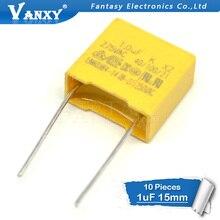 10 stks 1 uf condensator X2 condensator 275VAC Pitch 15mm X2 Polypropyleen film condensator 1 uf