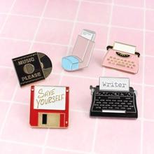 Vintage diario suministros broche música máquinas de escribir disco flash con USB CD guardar usted mismo ordenador moda insignia recuerdo joyería regalo