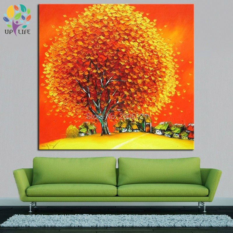 Pintado a mano de dibujos animados paisaje de la aldea pintura al óleo amarillo naranja grueso cuadro de árbol grueso paleta cuchillo pinturas al óleo