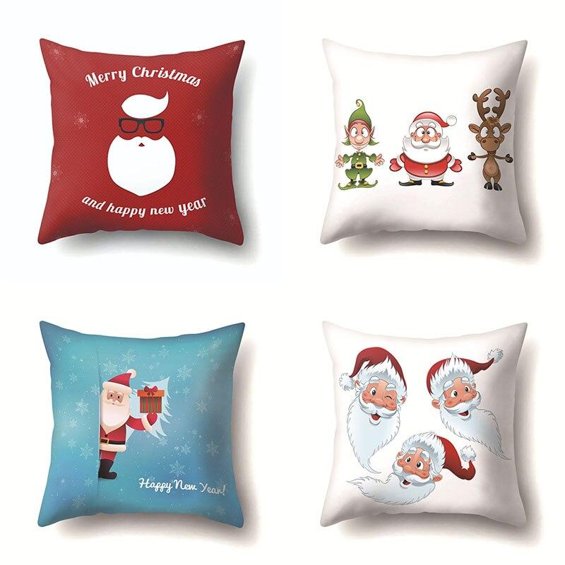 Romántico regalos de Año Nuevo de Navidad cojín de Santa Claus cubierta Safa casa cojín decorativo caso habitación almohada muñeco de nieve