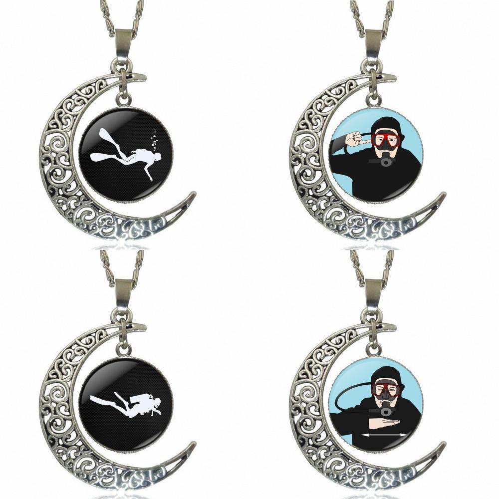 Buceo Color plata cabujón de cristal con hueco en forma de Luna colgante gargantilla Collar para niñas regalo hecho a mano