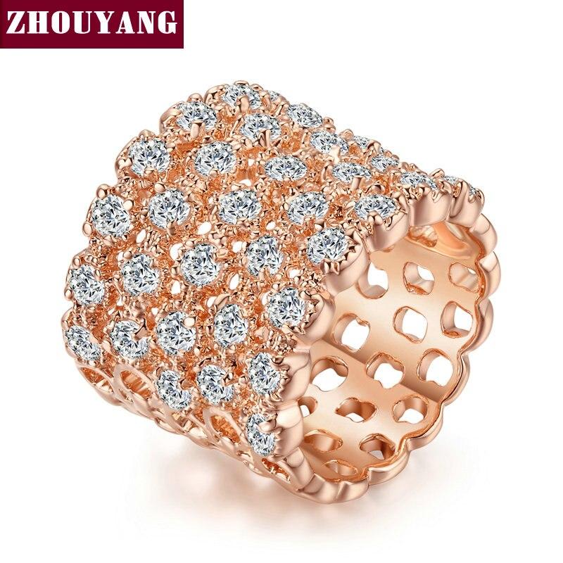Anillo de moda ZYR021 All Stars Color oro rosa hecho con cristales austriacos auténticos tamaños completos