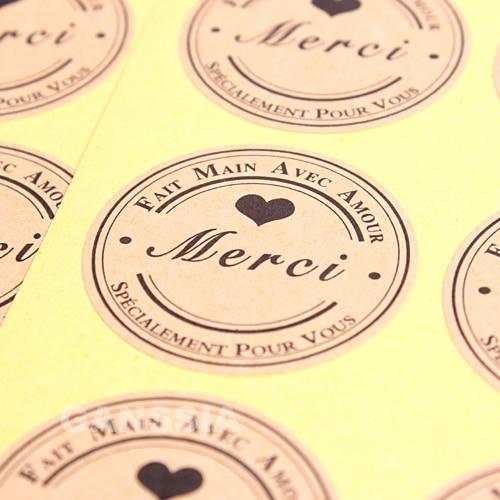 100 unids/lote Dia 3,8 cm Merci Kraft regalo sello pegatinas serie francesa DIY decoración pegatina embalaje etiquetas suministros (ss-1475)
