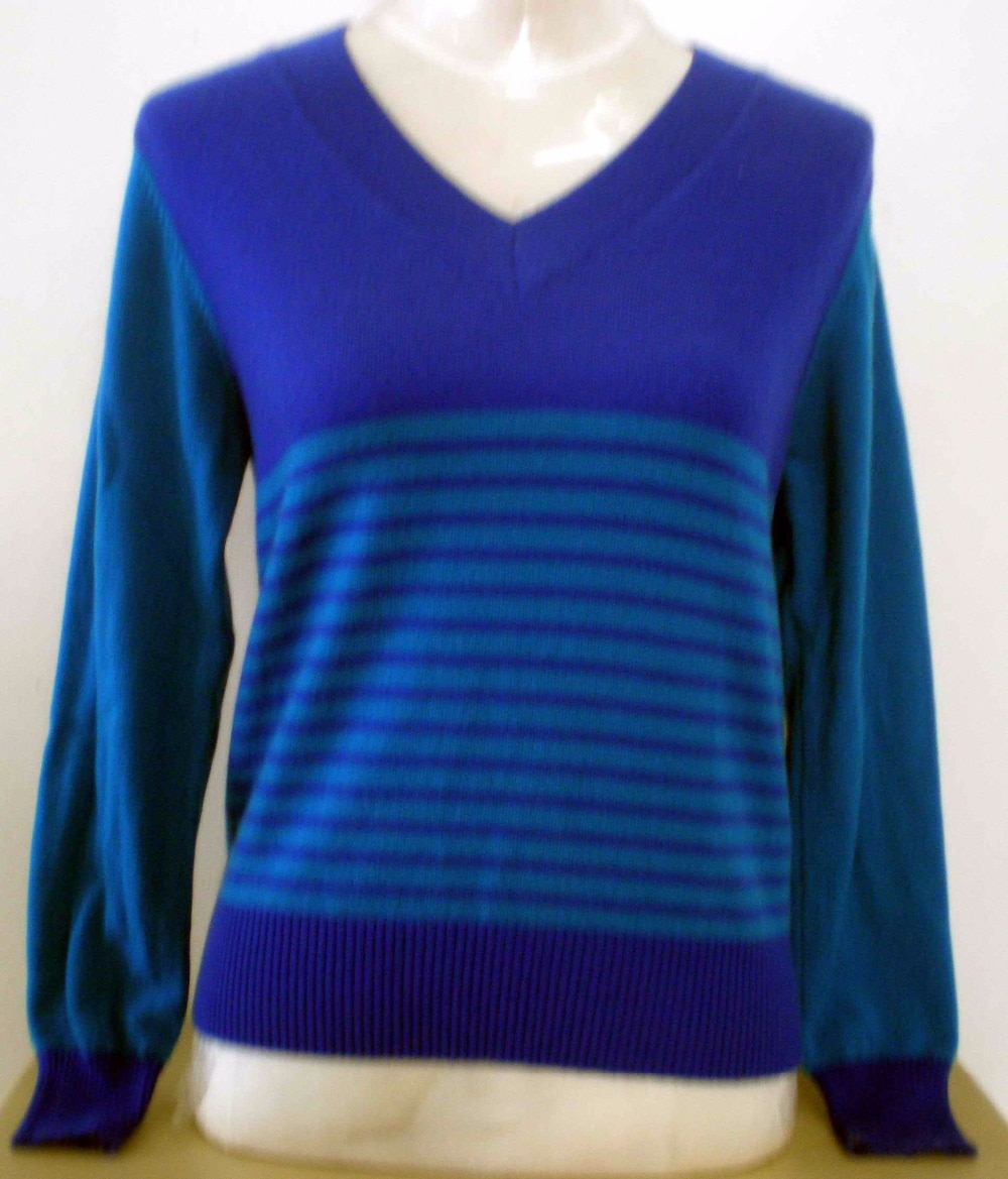 Pure Cashmere Sweater Women Royal Blue Pullover V-neck Lady Sweater Natural Thick Warm High Quality Clearance Sale Free Shipping enlarge