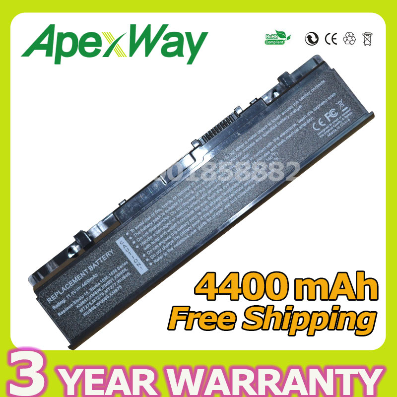 Apexway 4400mAh Substituição Da Bateria Do Portátil Para Dell Studio WU946 KM958 KM965 MT264 1555 1557 1558 1535 1536 1537 PP33L PP39L