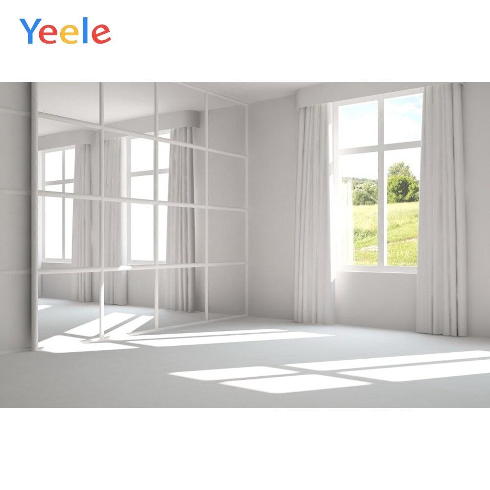 Yeele Casa Blanca ventana Marco con cortinas espejo piso fotografía fondos personalizados fondos fotográficos para estudio fotográfico