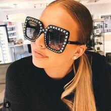 Lunettes de soleil Vintage pour femmes, rose cristal, grande monture, de marque, de styliste, UV400