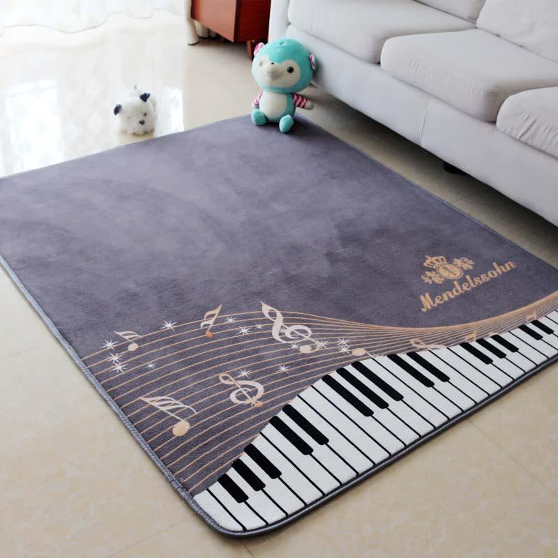 130X150CM Piano Notes Carpets For Living Room Home Area Rugs For Bedroom Shelf Drum Floor Mat Cartoon Carpet Kids Room Anti-Slip