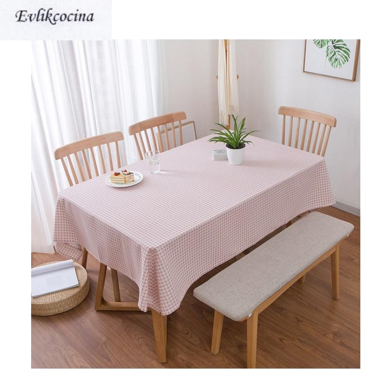 Mantel De algodón a cuadros para Mesa De comedor, cubierta De Mesa...
