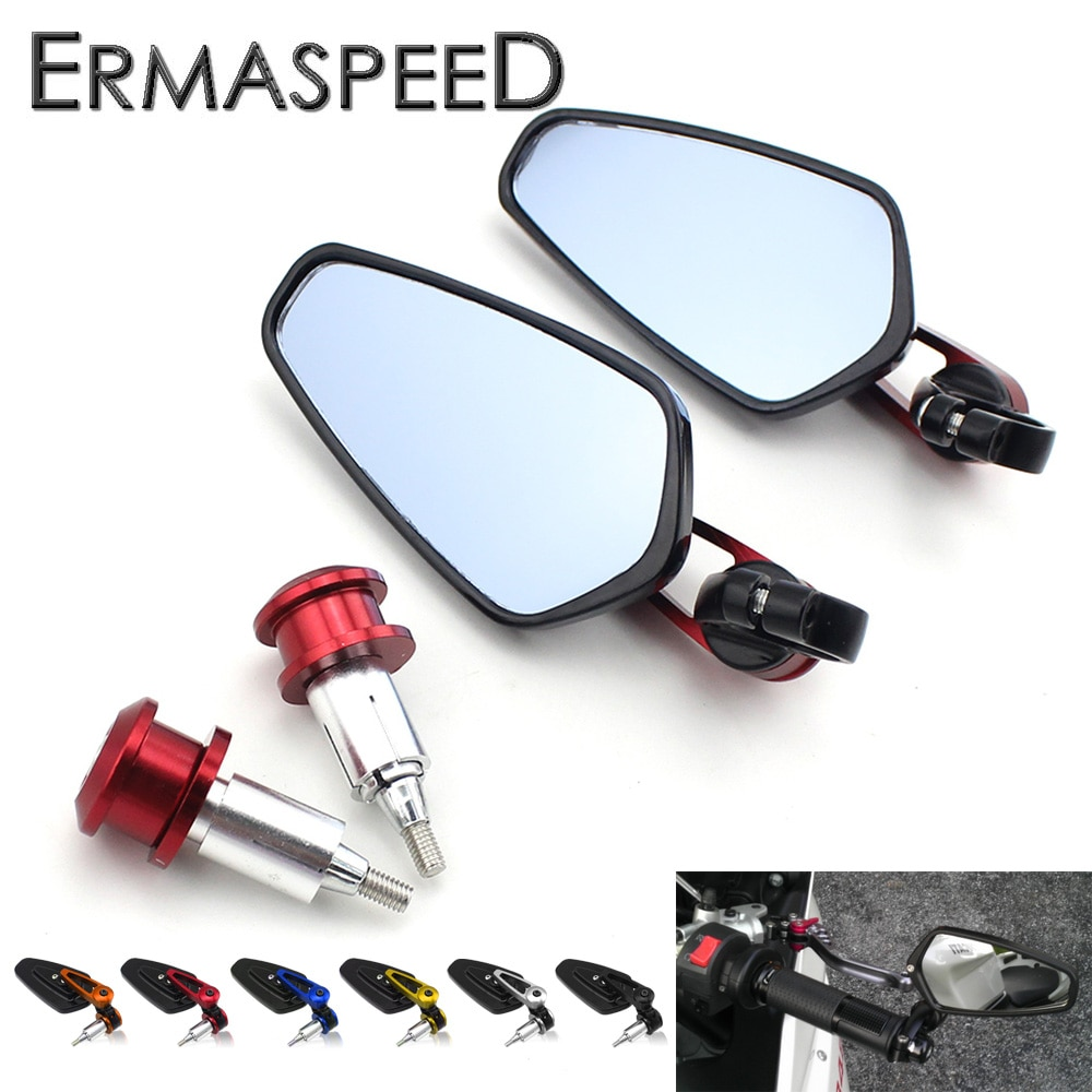 "7/8 ""22 мм мотоциклетные Зеркала Руль Бар Конец Зеркала голубое стекло CNC Алюминий мото велосипед аксессуары для Kawasaki versys 650"