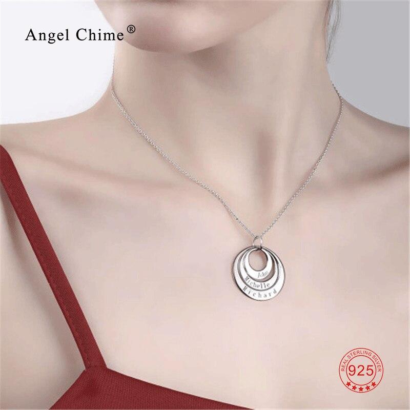 Collar con nombre personalizado con colgante grabado, collar de disco personalizado de plata 925 con cualquier nombre, palabra o fecha, joyería para mujeres y hombres