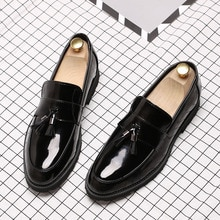 Nouveau mode hommes noir chaussures de mariage Wingtip en cuir verni sans lacet mocassins affaires chaussures décontractées respirant Oxford chaussures 7698 #