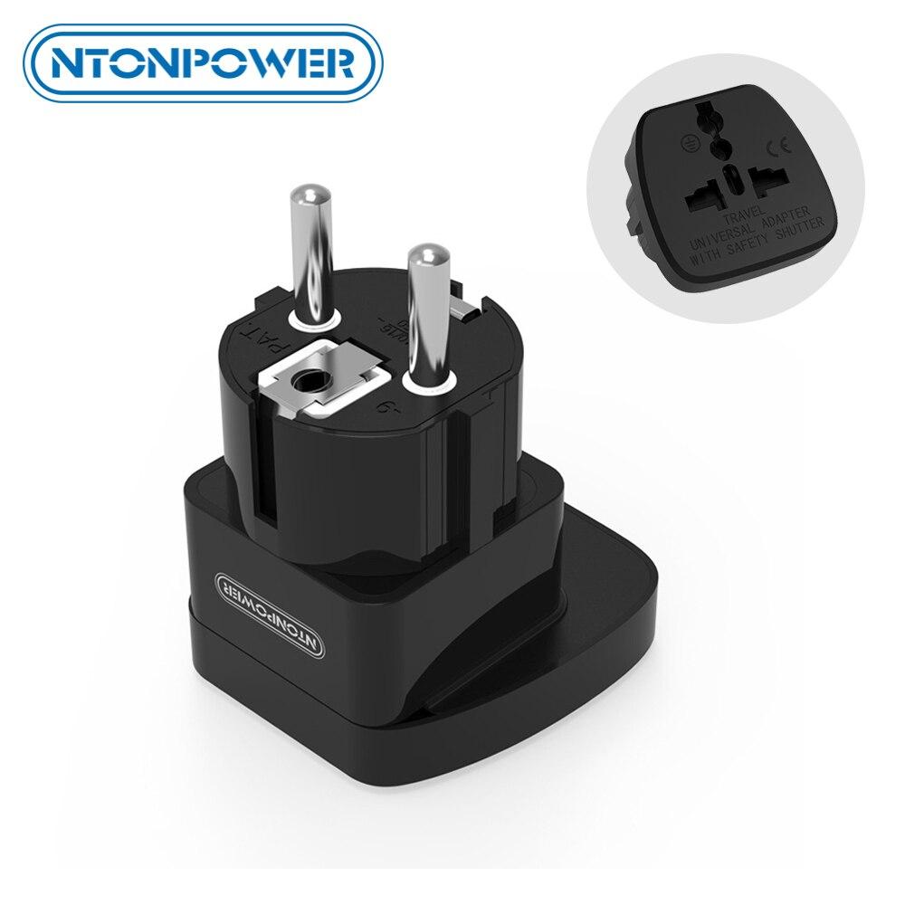 Ntonpower uta universal adaptador de viagem europeu plugue internacional tomada de energia parede conector elétrico com obturador segurança