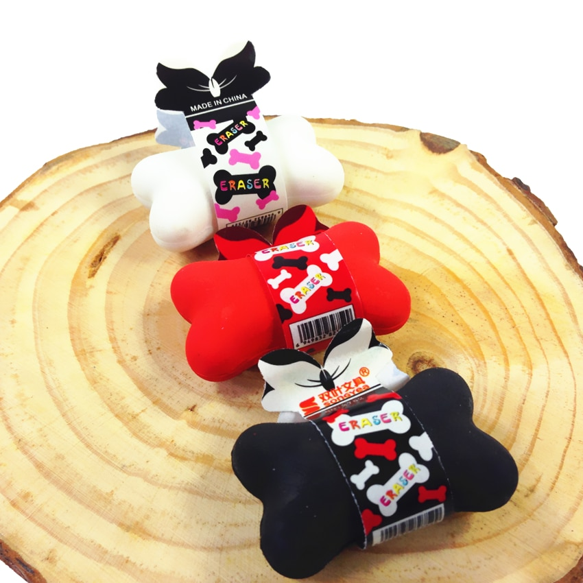 3 unids/lote goma de borrar de diseño de hueso de moda, regalo kawaii para niños, utilería para disparar, material, borradores escolares para bolígrafo y lápices borrables